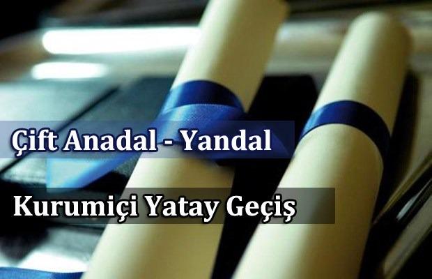 2018-2019 Güz Yarıyılı Kurumiçi Yatay Geçiş, Çift Anadal ve Yandal